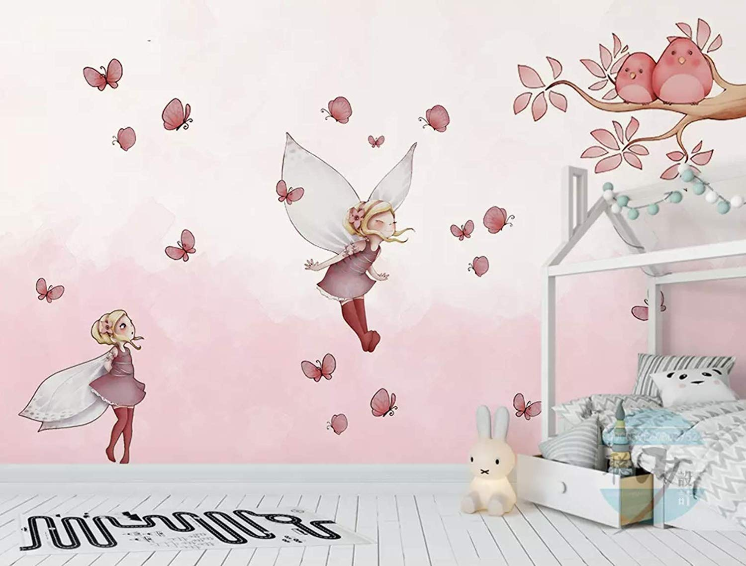 Murwall Kids Wallpaper Little Butterfly Girl Wall Mural - Wall , HD Wallpaper & Backgrounds