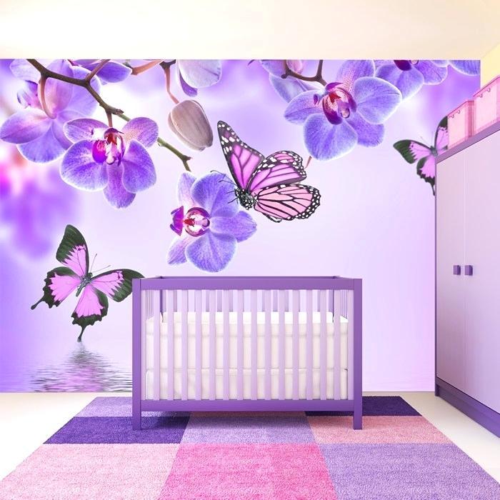 Baby Girl Nursery Floral Wallpaper For Kids Room Best - Butterfly Wallpaper For Girls Bedroom , HD Wallpaper & Backgrounds
