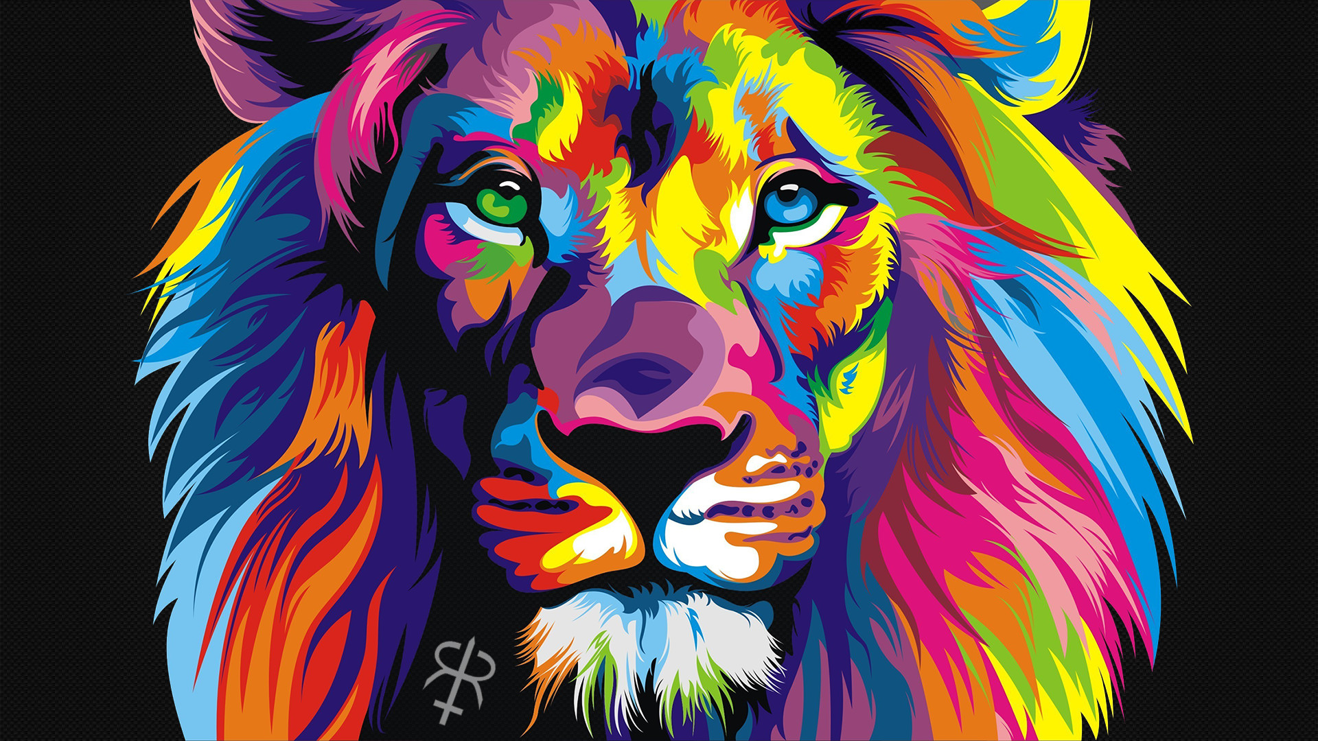 Colorful, Animals, Lion Wallpapers Hd / Desktop And - Colorful Lion , HD Wallpaper & Backgrounds