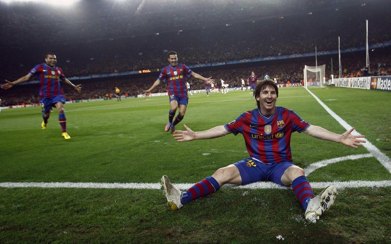 Download Widescreen - Messi Celebration Vs Arsenal , HD Wallpaper & Backgrounds