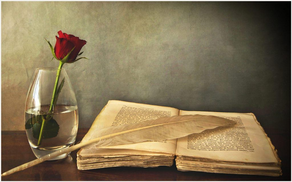 Old Book And Rose Hd Wallpaper Book And Pen Background