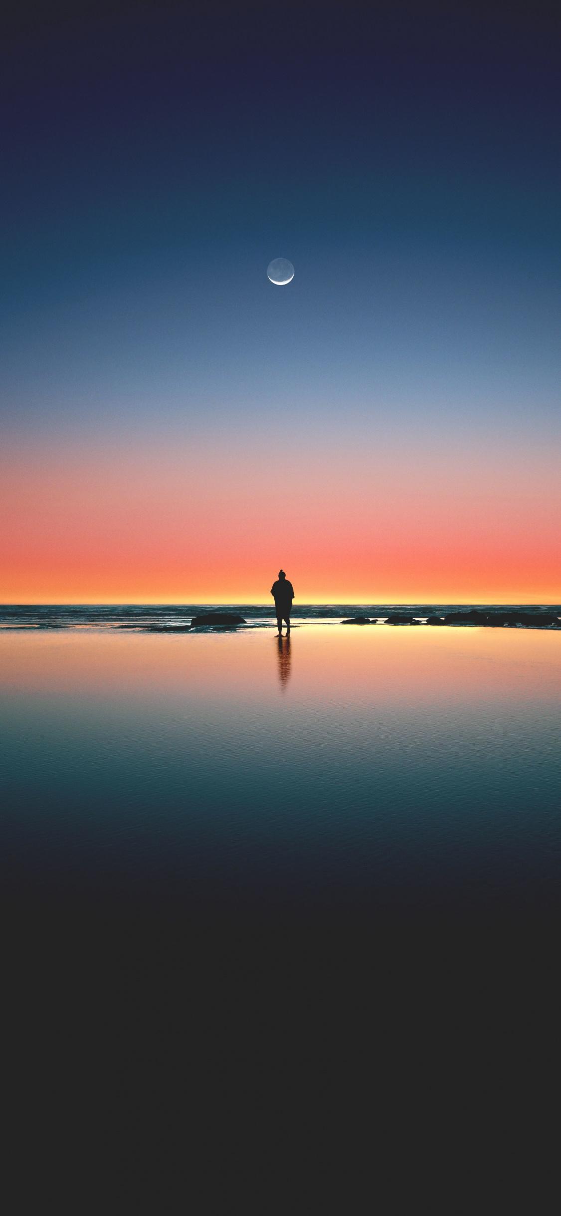 Sunset, Beach, Sea, Horizon, Silhouette, Moon, Wallpaper - Fond Ecran Dégradé De Couleur , HD Wallpaper & Backgrounds