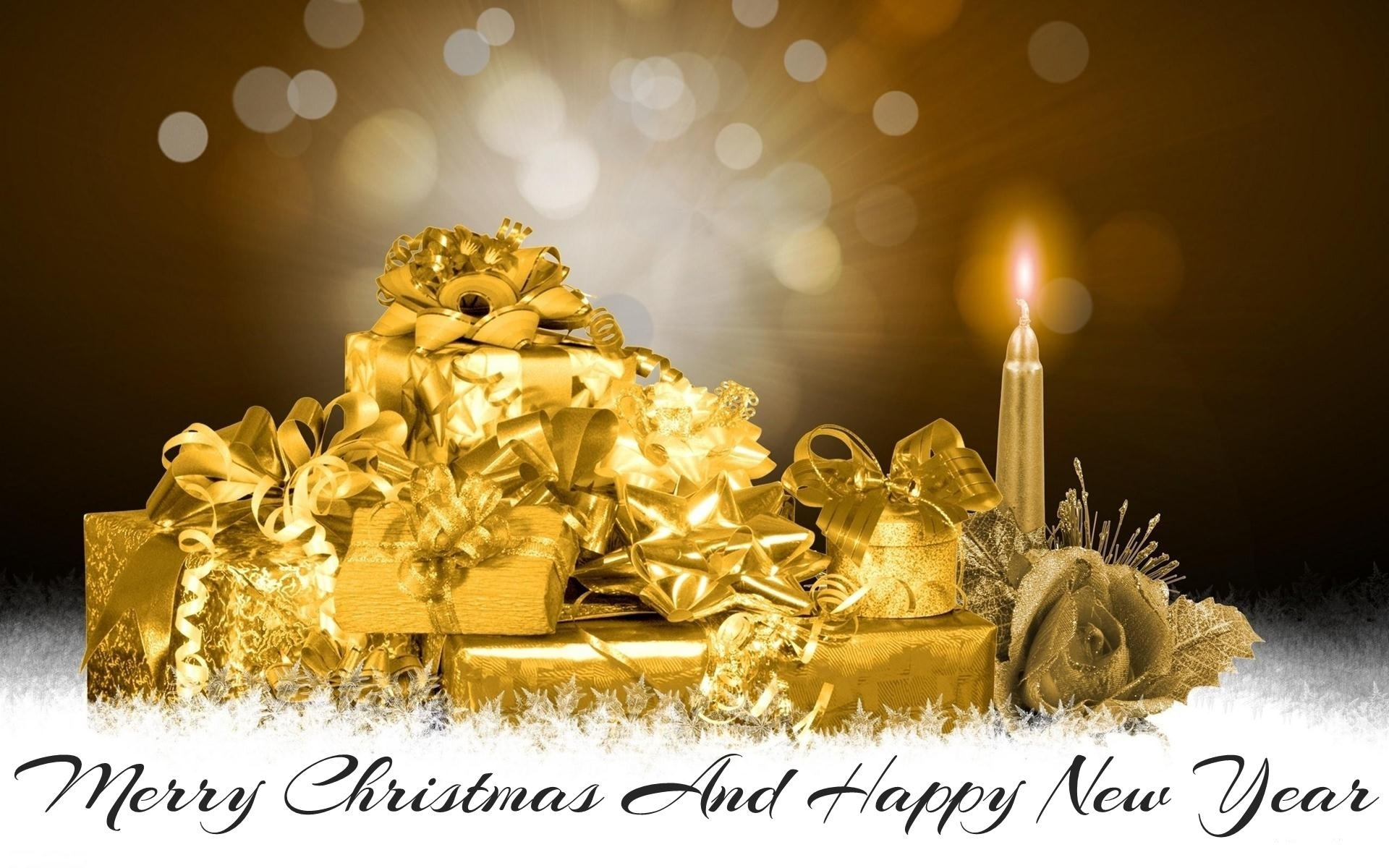 Merry Christmas And Happy New Year Wallpaper For Pc - Happy New Year Golden , HD Wallpaper & Backgrounds