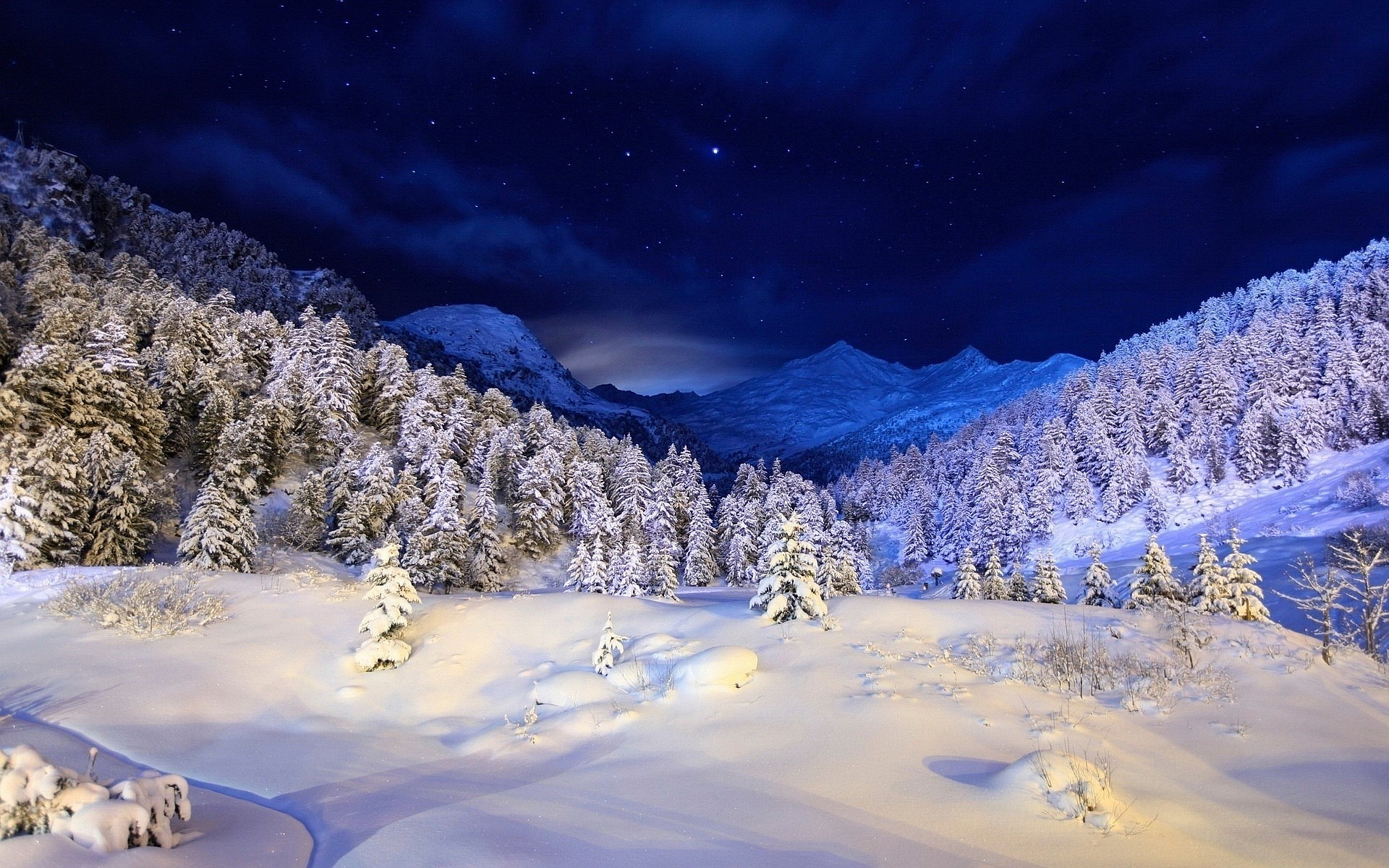 Night Winter Mountain Scenes Wallpapers Winter Snow Night Mountains 985115 Hd Wallpaper Backgrounds Download