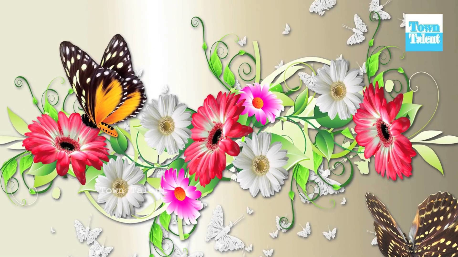 Nice Wallpaper Flower And Butterfly , HD Wallpaper & Backgrounds